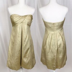 CACHE Gold Strapless Party Dress-Size 6